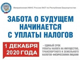 Межрайонная ИФНС России №37 по Республике Башкортостан напоминает: Уважаемые налогоплательщики-собственники транспортных средств, недвижимости и земельных участков обязаны в срок не позднее 01.12.2020 года оплатить имущественные налоги.  В связи с этим, п